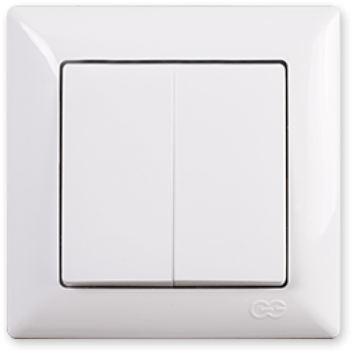 Выключатель 2-кл (без рамки) белый Gunsan Visage (01 28 11 00 150 103)