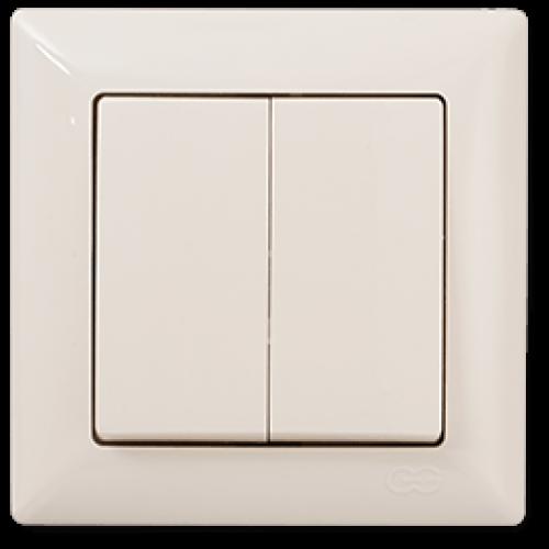 Выключатель 2-кл (без рамки) кремовый Gunsan Visage (01 28 12 00 150 103)