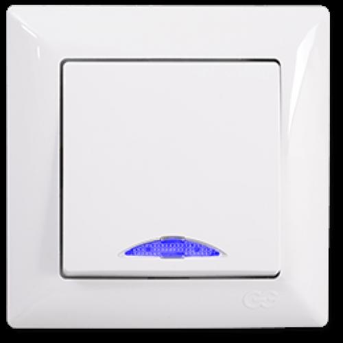 Выключатель 1-кл с индикацией (без рамки) белый Gunsan Visage (01 28 11 00 150 102)