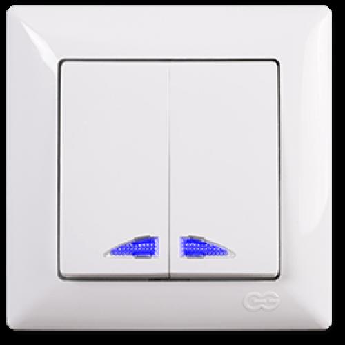 Выключатель 2-кл с индикацией (без рамки) белый  Gunsan Visage (01 28 11 00 150 104)