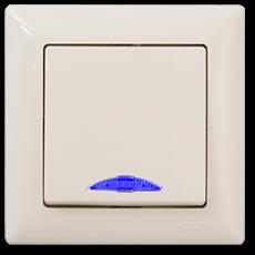 Выключатель 1-кл с индикацией (без рамки) кремовый