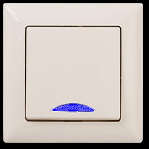 Выключатель 1-кл с индикацией (без рамки) кремовый  Gunsan Visage (01 28 12 00 150 102)