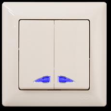 Выключатель 2-кл с индикацией (без рамки) кремовый 01 28 12 00 150 104