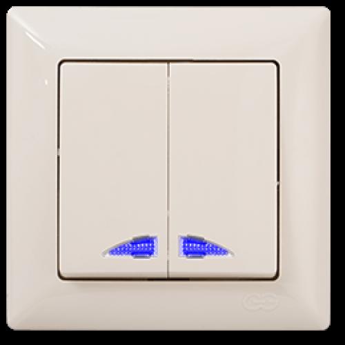 Выключатель 2-кл с индикацией (без рамки) кремовый 01 28 12 00 150 104 Gunsan Visage (01 28 12 00 150 104)
