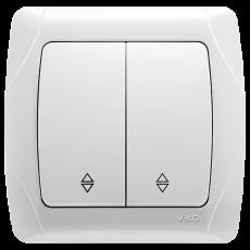 Выключатель 2-кл проходной белый
