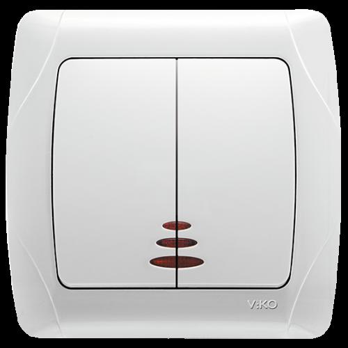 Выключатель 2-кл с индикацией белый  Viko Carmen (90561050)