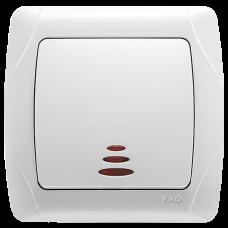 Выключатель 1-кл с индикацией белый