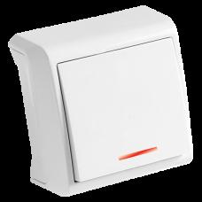 Выключатель 1-кл c инд. белый наружный