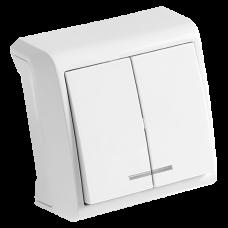 Выключатель 2-кл с инд. белый наружный