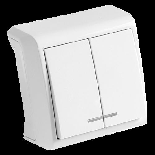 Выключатель 2-кл с индикацией белый наружный Viko Vera (90681050)