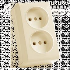 Двойная розетка кремовая наружная