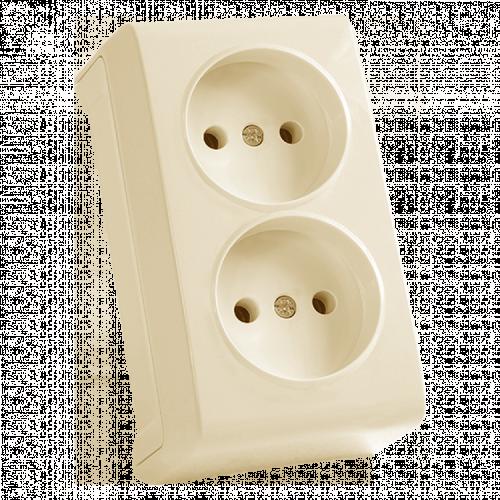 Двойная розетка кремовая наружная Viko Vera (90681255)