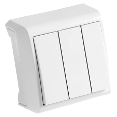 Выключатель 3-кл белый наружный