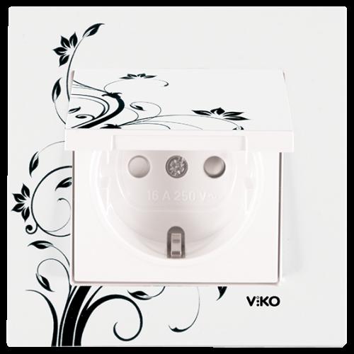 "Розетка с крышкой ""Цветок"" Viko Karre Style (90960932)"