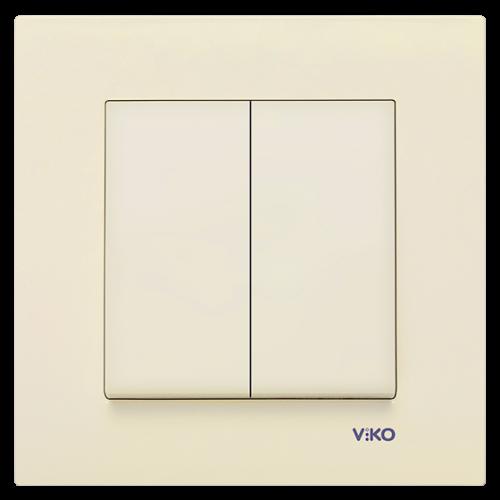 Выключатель 2-кл (без рамки) кремовый Viko Karre (90963702)