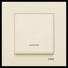 Выключатель 1-кл c индикацией (без рамки) кремовый