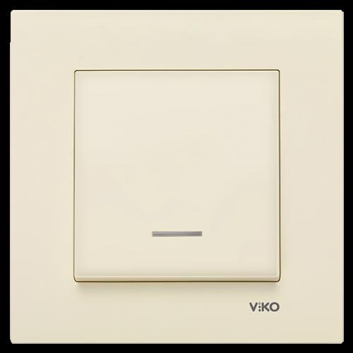 Выключатель 1-кл c индикацией (без рамки) кремовый Viko Karre (90963719)