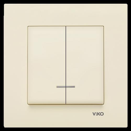 Выключатель 2-кл c индикацией(без рамки) крем  Viko Karre (90963750)