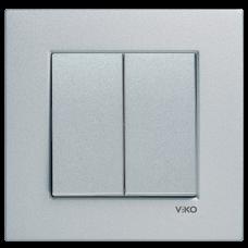 Выключатель 2-кл (без рамки) серебро