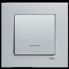 Выключатель 1-клавишный c индикацией (без рамки) серебро