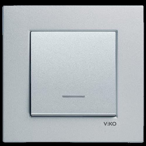 Выключатель 1-клавишный c индикацией (без рамки) серебро Viko Novella (92105019)