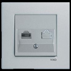Розетка компьютерная (без рамки) серебро