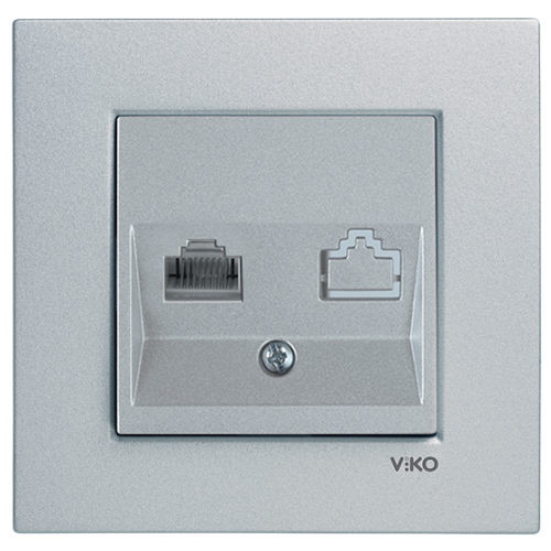 Розетка компьютерная (без рамки) серебро  Viko Novella (92105032)