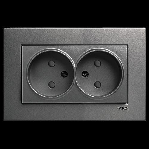 Двойная розетка дымчатый  Viko Novella (93000455)