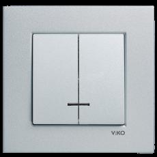 Выключатель 2-кл с индикацией (без рамки) серебро