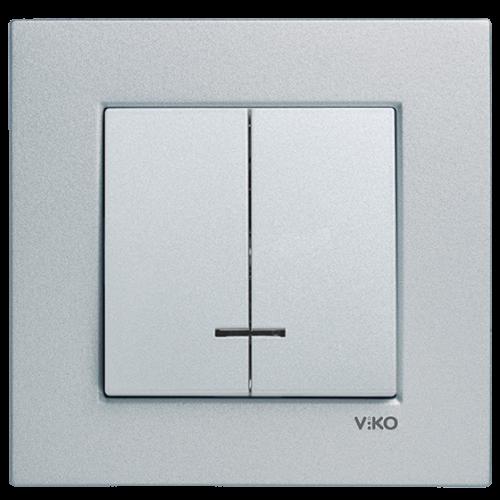 Выключатель 2-кл с индикацией (без рамки) серебро Viko Novella (92105050)