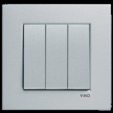Выключатель 3-кл (без рамки) серебро