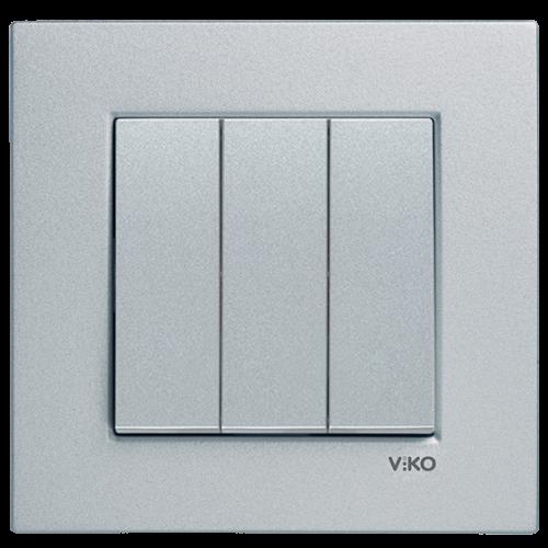Выключатель 3-кл (без рамки) серебро Viko Novella (92105068)