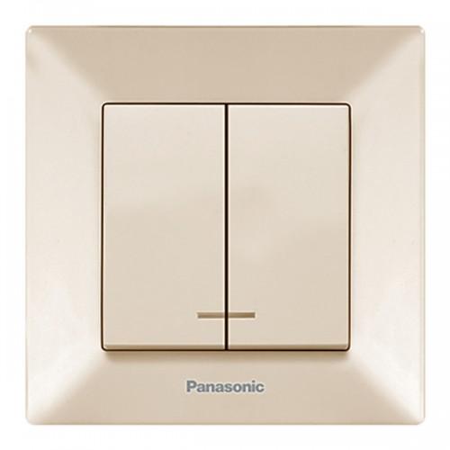 Выключатель 2-кл с индикацией (в сборе) кремовый Panasonic Arkedia (WMTC00102BG-BY)