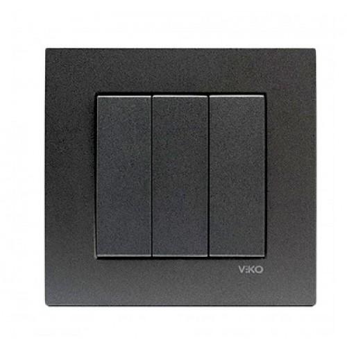 Выключатель 3-кл (без рамки) дымчатый  Viko Novella (92105468)