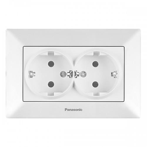 Двойная розетка с/з (в сборе) белая Panasonic Arkedia (WMTC02052WH-BY)