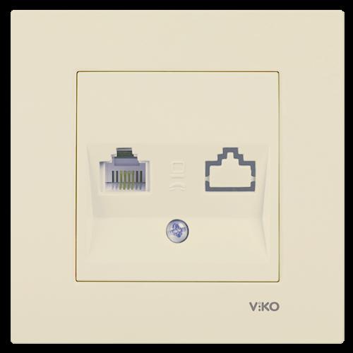 Розетка ТЛФ (без рамки) кремовая Viko Karre (90967213)