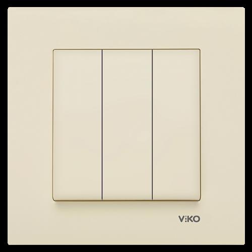 Выключатель 3-кл (без рамки) кремовый Viko Karre (90964768)