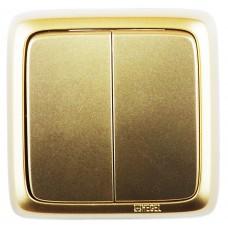 Выключатель 2-кл золото