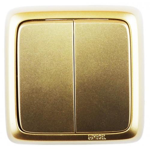 Выключатель 2-кл золото  Hegel Alfa IP20 (ВА10-153-07)