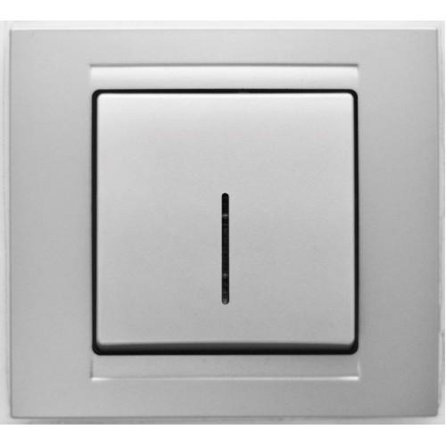 Выключатель 1-клавишный c индикацией (без рамки) серебро  01 29 15 00 150 102 ()