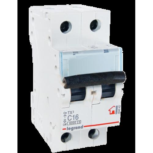 Автоматический выключатель 2P 16A хар-ка C 6kA Legrand ТХ3 (404042)