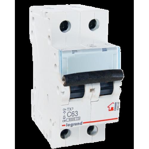Автоматический выключатель 2P 63A хар-ка C 6kA Legrand ТХ3 (404048)