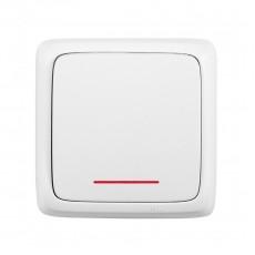 Выключатель 1-клавишный c индикацией белый
