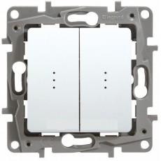 Выключатель 2-кл. c индикацией белый