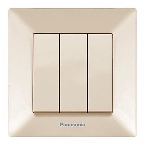 Выключатель 3-кл кремовый Panasonic Arkedia  (WMTC00152BG-BY)