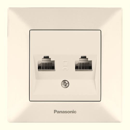 Розетка компьютерная (2 порта) (в сборе) кремовая Panasonic Arkedia (WMTC04062BG-BY)