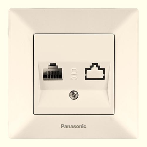 Розетка компьютерная (в сборе) кремовая Panasonic Arkedia (WMTC04042BG-BY)