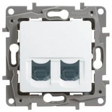 Розетка компьютерная (2 порта) (CAT6) белая