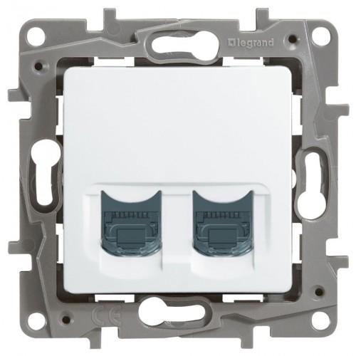 Розетка компьютерная (2 порта) (CAT6) белая Legrand Etika (672254)