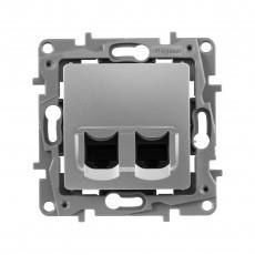 Розетка компьютерная (2 порта) алюминий